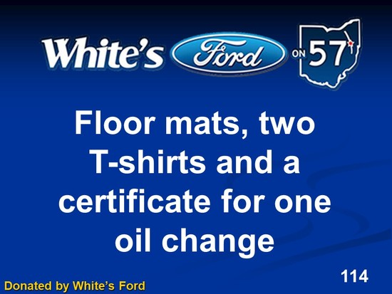 Certificate for 1 Oil Change, floor mats, and 2 T-shirts