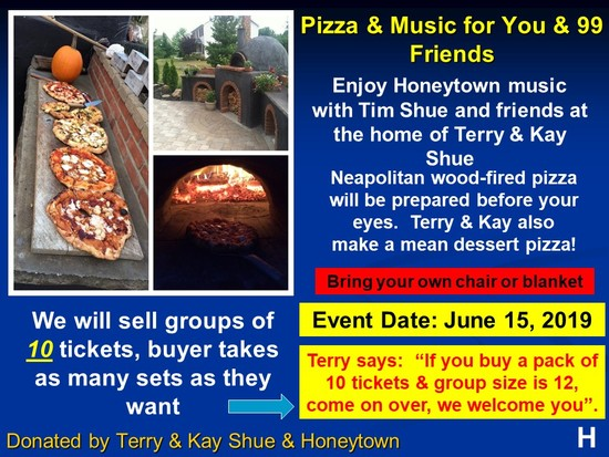 10 people for an evening of wood fired pizza and Honeytown music