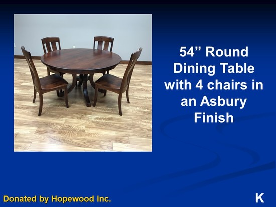 "Brown Maple 54"" Round Dining Table with 4 chairs in Asbury Finish"