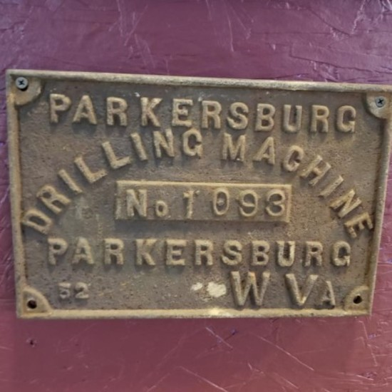 Parkersburg Drilling Machine Plate