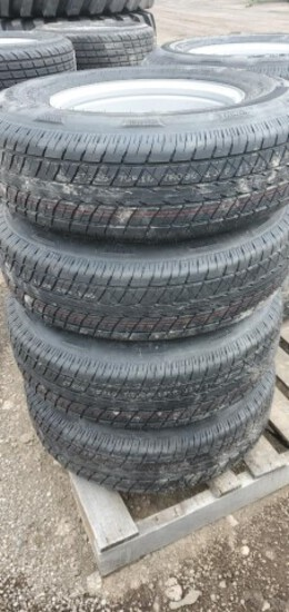 Set/ 4 New ST225/75-15 Trailer Tires/Wheels