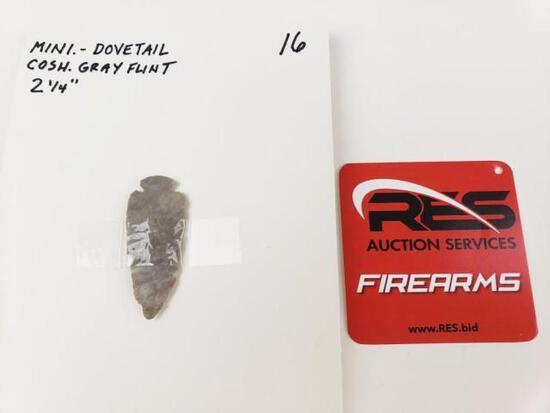 Mini dovetail point, Coshocton gray flint
