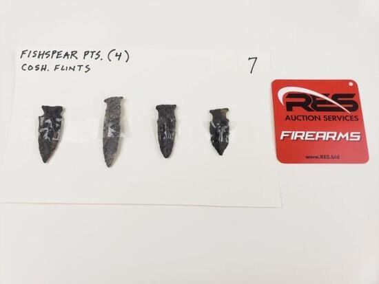 4 Fishspear points, Coshocton flints