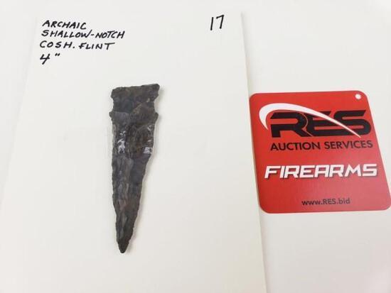"Archaic shallow-notch point, 4"" Coshocton flint"