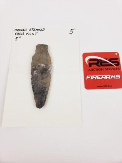 "Archaic stemmed point, 5"" Coshocton flint"