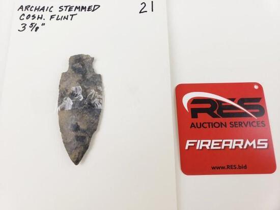 "Archaic stemmed point, 3 5/8"" Coshocton flint"