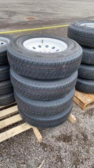 Set-4 New ST225/75-15 Trailer Tires/Wheels