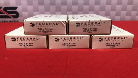 100rds Federal 762x51MM 149gr FMJ Ammo