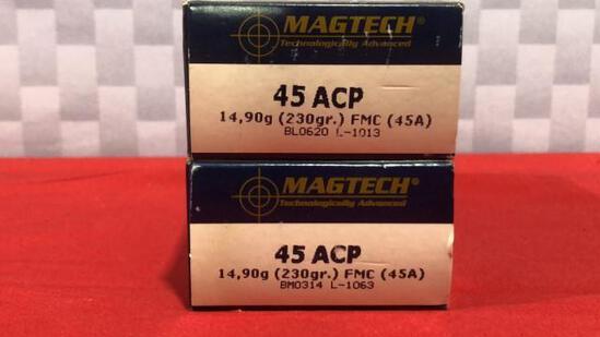 100rds Magtech 45 ACP Ammo
