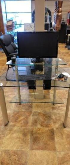 Glass Computer Desk w/ Chair