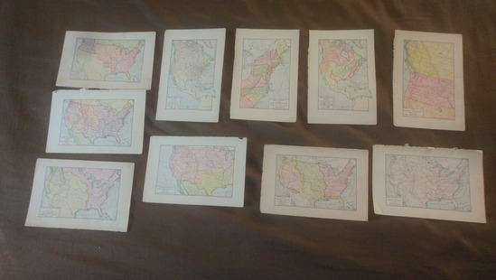 1903 lot of US maps bookplates