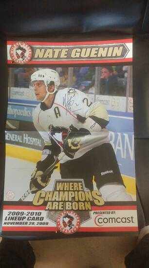 11x17 signed Nate Guenin hockey poster