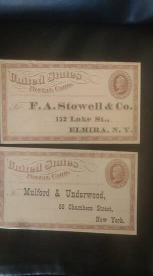 2 #UX-2 1800s unused postal cards