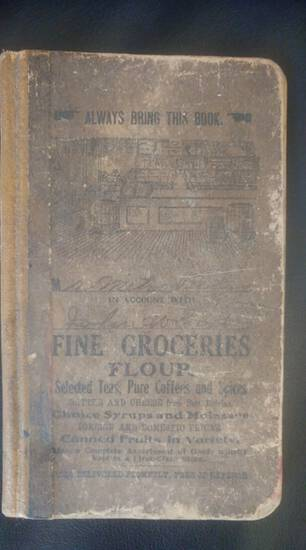 Early fine groceries memo book