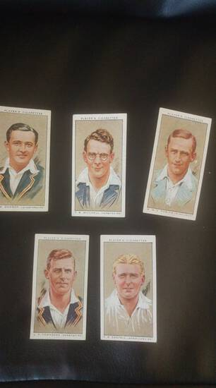 1934 lot of John Player cigarettes cricket cards