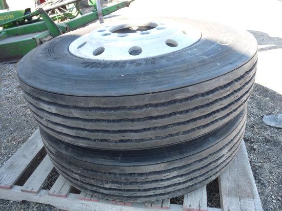 (2) 11R22.5 Tires on Aluminum Rims