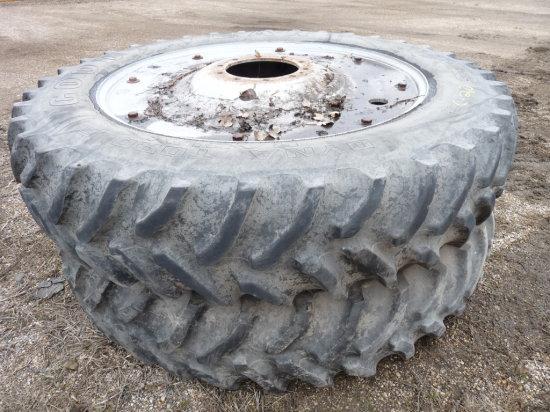 "(2) 14.9-46"" Tires on 10 Hole IH Magnum Rims"
