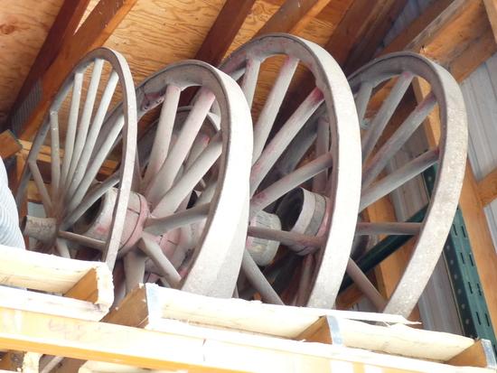 Set of 4 Wooden Wagon Wheels
