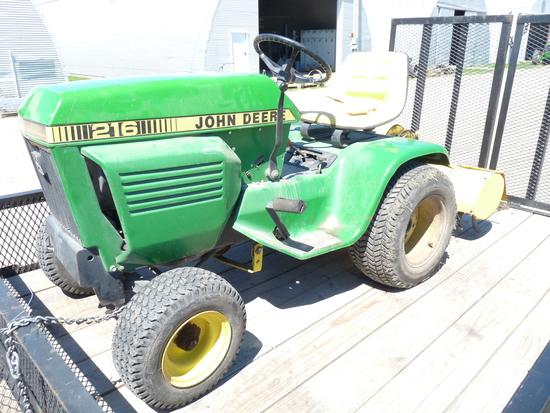 John Deere 216 Mower with Rear Mount Tiller