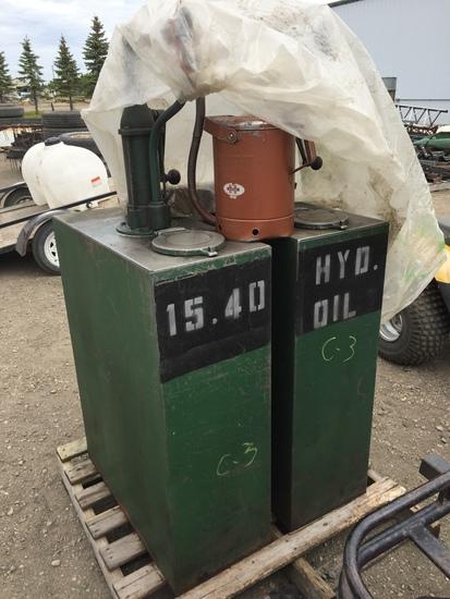 2-Phillips 50 Gal. Oil Dispensers w/Pumps