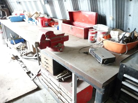 12' Metal Work Bench with Vise