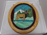 Stained Glass Deer Hanging Oval with Wood Frame.