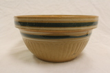 Green & White Banded Yellow Ware Bowl
