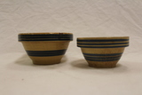 Set of 2 Yellow Ware Bowls w/ Blue Stripes
