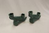 Van Briggle Set of 2 Candle Sticks, Mottled Green