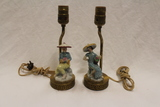 Set of 2 - Porcelain Lamps on Brass Base