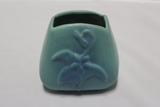 Van Briggle Pottery Triangle/Square with Flower in Ming Blue