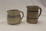 Set of 2 Stoneware Pitchers