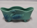 Van Briggle Pottery footed Swan Planter in Ming Blue