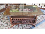 Antique Coffee Table with Glass and Rose Art