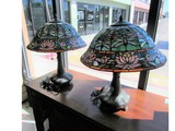 Set of 2 Tiffany Style Lamps with Dragonfly Shade.