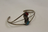 Womens Sterling, Turquoise  & Coral Bracelet