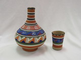 Mexican Handpainted Vase w/Cup