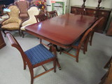 Duncan Phyfe Table and 6 Chairs and Leaf
