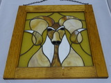 Stained Glass Big Horn Sheep with Wood Frame.