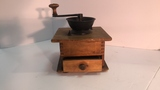 Wood and Cast Iron Coffee Grinder.