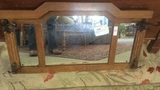 736 Antique Oak Hanging Mirror with Hooks.