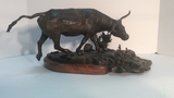 Bronze Longhorn Statue by B. Kay