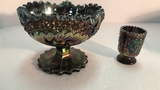 Fenton Carnival Glass Pedestal Bowl and Candle
