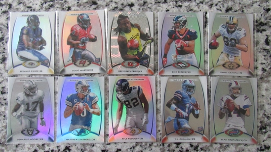 Set of 10 2012 Topps Platinum Cards