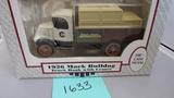 1926 Mack Bulldog Truck Bank with Crates, Die-Cast Replica.