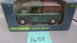 1955 Pickup Truck Bank, Die-Cast Replica.
