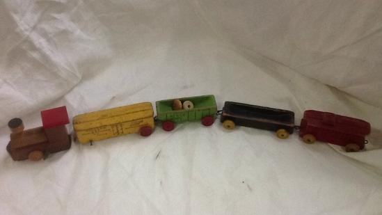 Vintage Windup Wooden Train