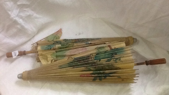 Vintage Asian Rice Paper Parasols (2)