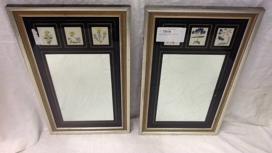 Set of Two Mirrors w/ Floral Squares at Top