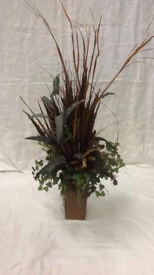 Floral Arrangement with Feathers and Greenery